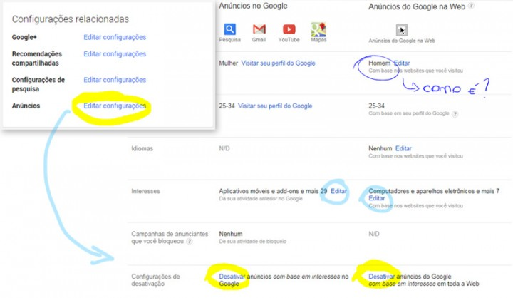 Seus interesses registrados na Conta Google